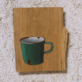 Emaille-Kaffeetasse grün
