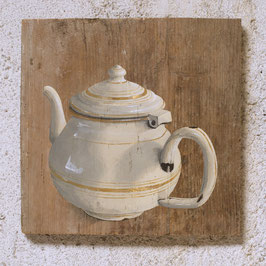 Emaille-Tee-Kanne beige Malerei auf Fichte mit 24K Blattgold