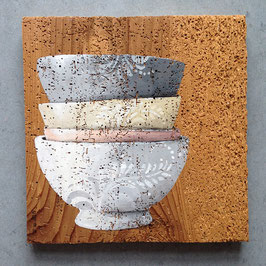 alte französische Milchkaffee-Tassen - Keramik auf Fichte