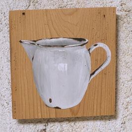 Emaille-Kanne weiß Malerei auf Fichte