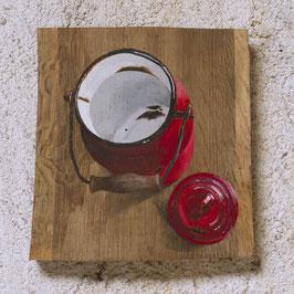 Emaille-Kanne rot Malerei auf Eiche