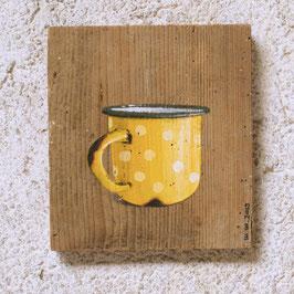 Emaille-Kaffeetasse knallgelb mit Tuupfen