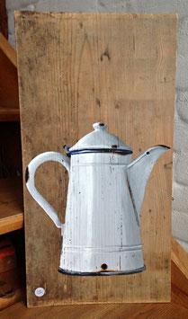 Emaille-Kaffeekanne weiß mit blauem Rand - der Klassiker
