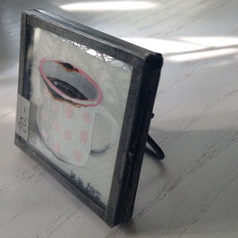 Mini-Unikat Emaille-Tasse weiß mit  rosa Punkten zum Aufstellen (Zink) 04102016 C
