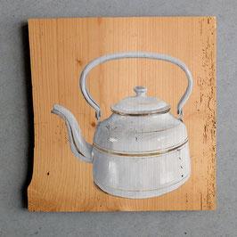 Emaille-Teekessel weiß mit Goldrand