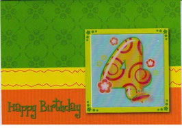 authentic GREETING CARD - Happy Birthday 4 (4. Geburtstag) (3D Karte)