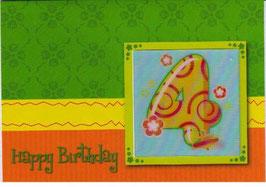 authentic GREETING CARD - Happy Birthday 4 (4. Geburtstag) (3D Karte)