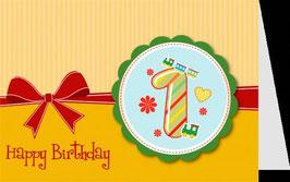 authentic GREETING CARD - Happy Birthday 1 (1. Geburtstag) (3D Karte)