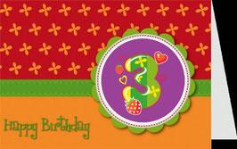authentic GREETING CARD - Happy Birthday 3 (3. Geburtstag) (3D Karte)