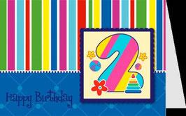 authentic GREETING CARD - Happy Birthday 2 (2. Geburtstag) (3D Karte)