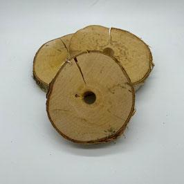 Birkenholzscheiben mit Loch 10-13 cm (B-Ware)