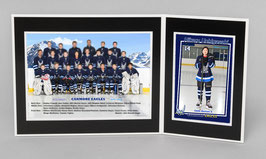 I : 5x7 Team & 5x3.5 Individual Photos with a cardboard easel folder
