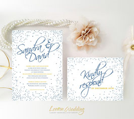 Silver and blue wedding invitations # 53.2