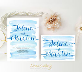 Blue Watercolor wedding invitations # 72.2