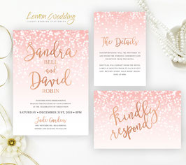 Pink and rose gold wedding invitation sets # 35.3
