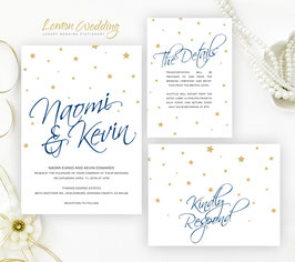 Gold and Navy Wedding Invitations # 36.3