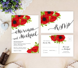 Red flowers wedding invitation sets  # 104.2