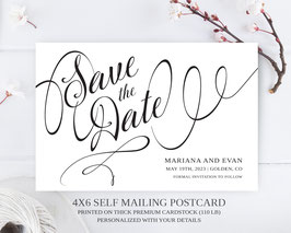 Save the date postcards calligraphy