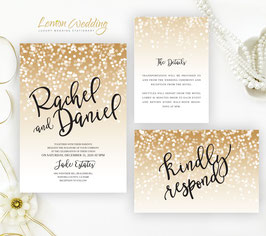 Gold and black wedding invitations # 62.3