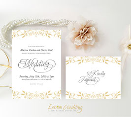 Gold wreath wedding invitations # 66.2