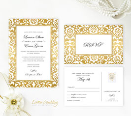 Gold frame wedding invites # 99.2