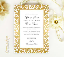 Gold frame wedding invitations # 99.1