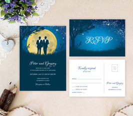 Moon Gay Wedding Invitations with RSVP