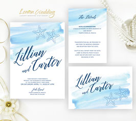 Starfish wedding invitations # 74.3