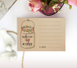 Mason jar wedding advice cards - pack of 100