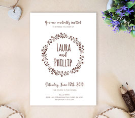 Wreath wedding invitations # 102.1