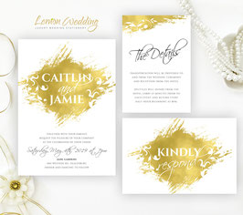 Gold Wedding Invitations  packs # 122.3