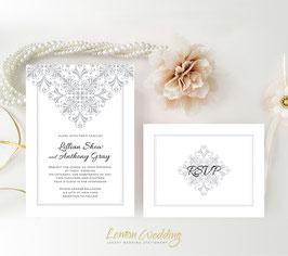 Vintage lace wedding invitations # 48.2