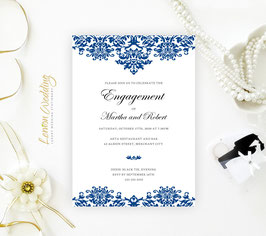 Royal Blue Engagement  Invitation