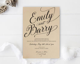 Kraft paper wedding invitations # 109.1