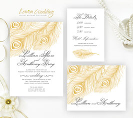 Feather wedding invitation # 31.3