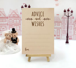 Kraft paper wedding advice cards - pack of 100
