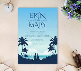 Palm Beach Lesbian Wedding Invitations