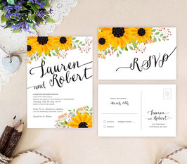 Sunflower wedding invitations # 12.2