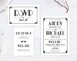 Retro wedding invitation sets  # 113.3