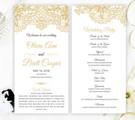 Gold lace wedding programs # 0.11