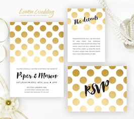 Polka dot wedding invitation sets # 94.3