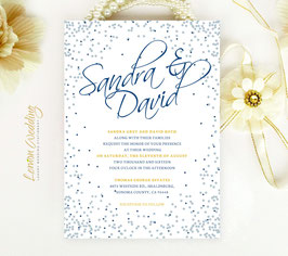Blue and silver wedding invitations # 53.1