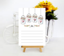 Mason jar themed wedding advice cards