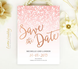Rose gold and pink save the dates # 35