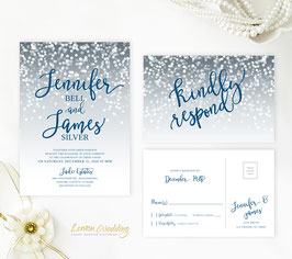 Navy and grey wedding invitations # 61.2
