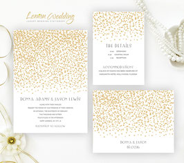 Gold Stars Wedding Invitations # 23.3