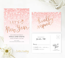 Pink New Year's Eve Wedding Invitation # 122.2