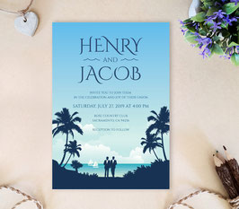 Beach Gay Wedding Invitation Cards