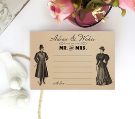 Retro wedding advice cards - pack of 100