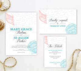 Seashell wedding invitations # 65.3